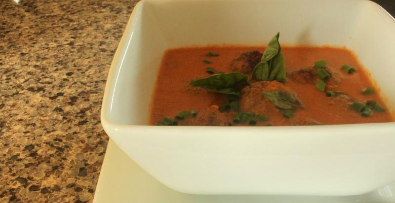 Paleo Cream of Tomato and Meatball Soup
